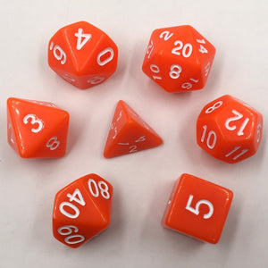 Opaque Orange Dice 7pc/set Polyhedral Dice Rpg Dice