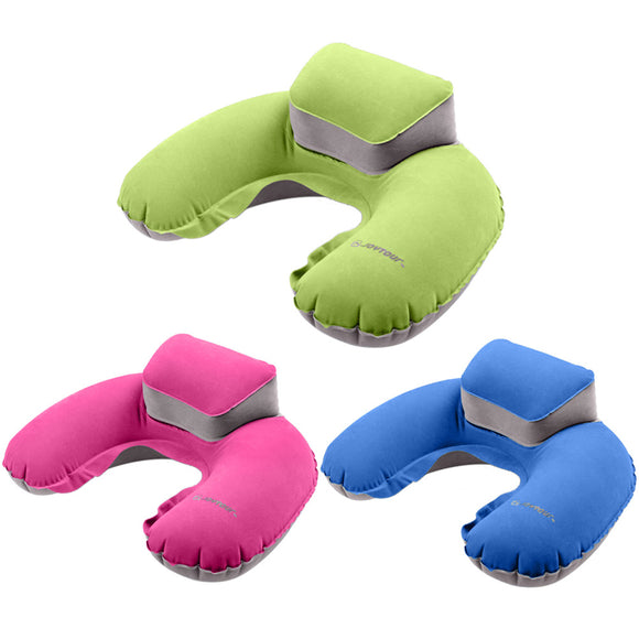 Portable Inflatable Travel Pillow W Extended Head Rest - Take Off Travel Accessories