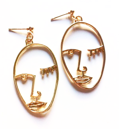 Flirty Face Earrings Gold