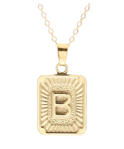 B small gold initial letter necklace
