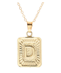D small gold initial letter necklace