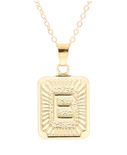 E small gold initial letter necklace