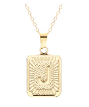 J small gold initial letter necklace