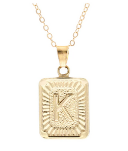 K small gold initial letter necklace