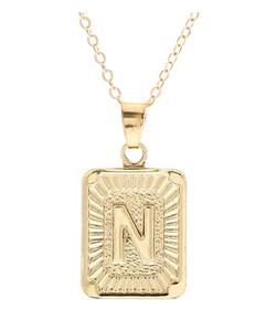 N small gold initial letter necklace