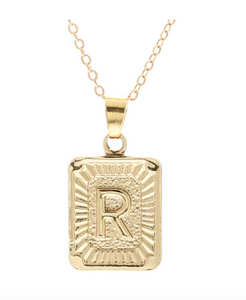 R small gold initial letter necklace