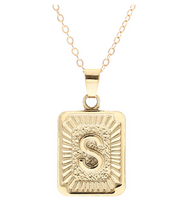 S small gold initial letter necklace