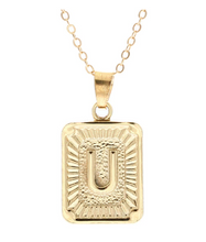 U small gold initial letter necklace