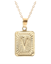 V small gold initial letter necklace