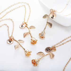 Rose flower gold initial Necklace