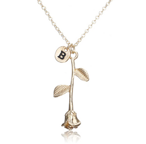 Rose Necklace gold initial B