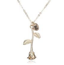 Rose Necklace gold initial e