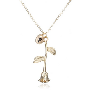 Rose Necklace gold initial f