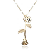 Rose Necklace gold initial h