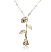 Rose Necklace gold initial i