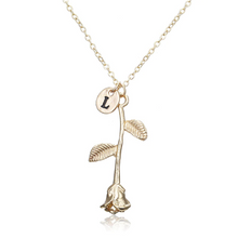 Rose Necklace gold initial l