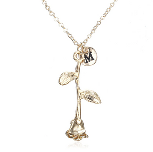 Rose Necklace gold initial m