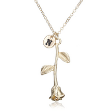 Rose Necklace gold initial n