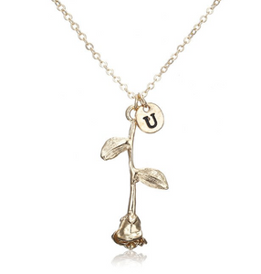 Rose Necklace gold initial u
