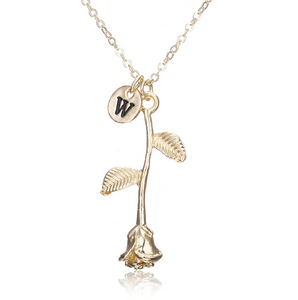 Rose Necklace gold initial w