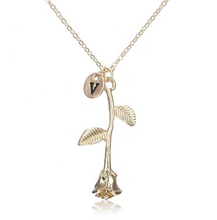 Rose Necklace gold initial v