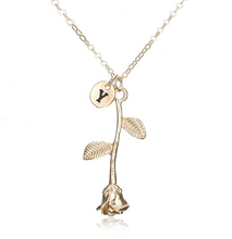 Rose Necklace gold initial y