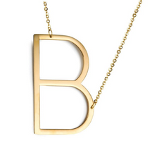 Initial letter necklace gold B