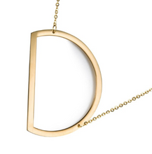 Initial letter necklace gold D