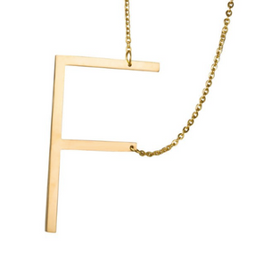 Initial letter necklace gold F
