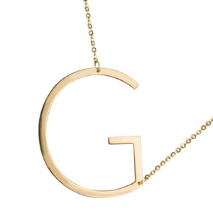 Initial letter necklace gold G