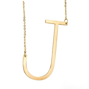 Initial letter necklace gold J
