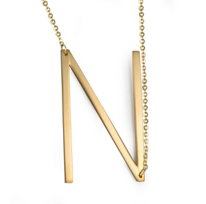 Initial letter necklace gold N