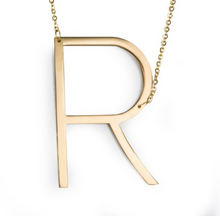 Initial letter necklace gold R