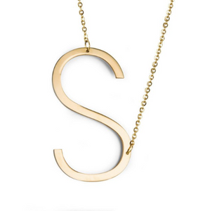 Initial letter necklace gold S