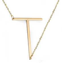 Initial letter necklace gold T