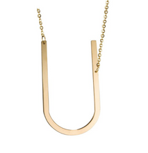 Initial letter necklace gold U
