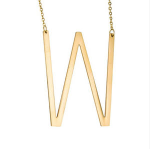 Initial letter necklace gold W