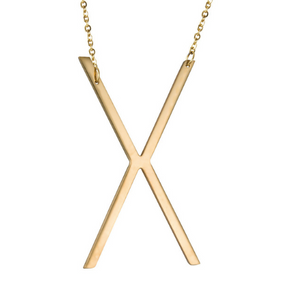 Initial letter necklace gold X