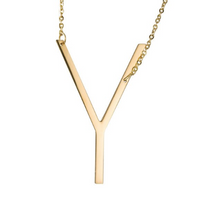 Initial letter necklace gold Y
