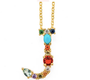 personalised letter initial necklace jewels colourful stones