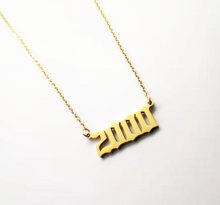 golden necklace year 2000 personalised
