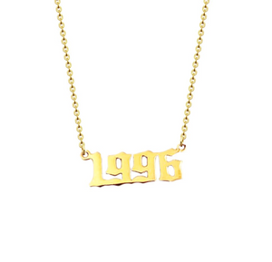golden necklace year 1996 personalised