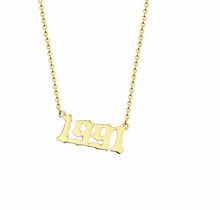 golden necklace year 1991 personalised