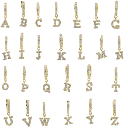 initial letter alphabet earring gold jewelry personalised