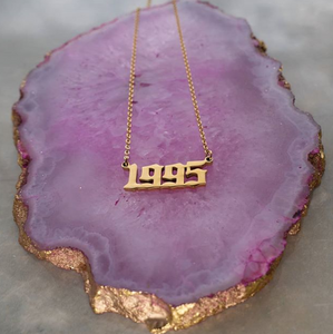 birth year necklace golden