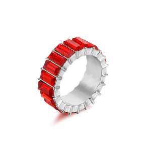 red zirconia ring silver 925