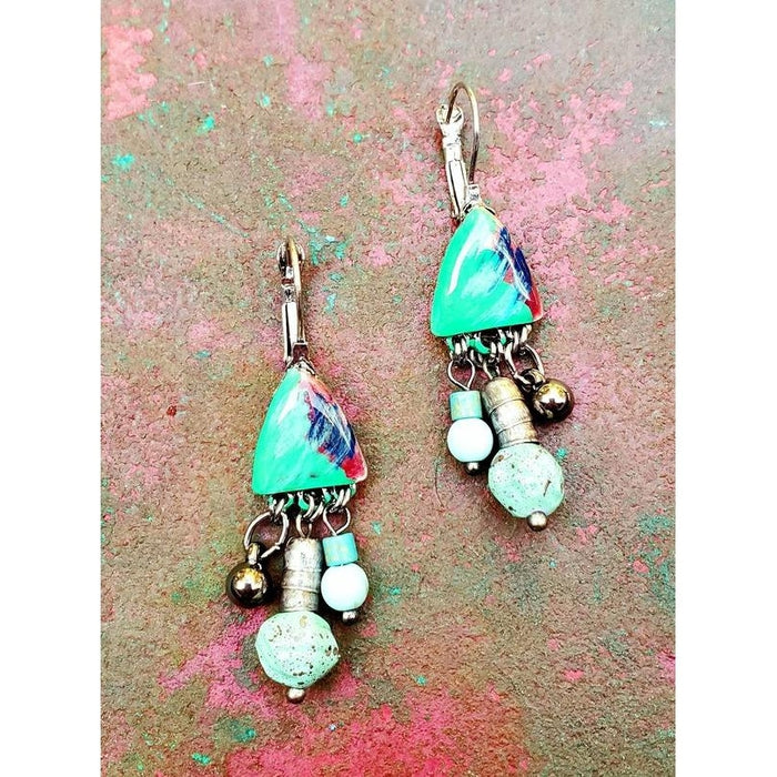 Rare Earth Triangle Top & Bead Drop Earrings