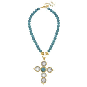 Gold and Silver Coin Cross on Genuine Turquoise Necklace
