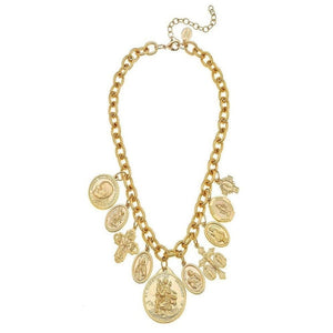 HANDCAST GOLD SAINTS CHARM NECKLACE