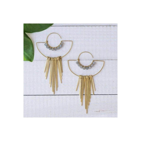 Brass and Stone Fringe Earrings